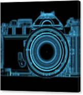 Dslr Slr Camera 3d Xray Blue Transparent Canvas Print