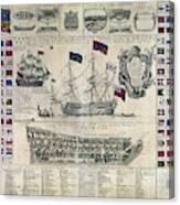 Early 18th Century British Man Of War Ship Diagram Canvas Print