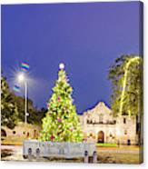Early Morning Panorama Of Christmas Tree And Lights At The Alamo Mission - San Antonio Texas Canvas Print