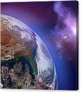 Earth With Stars Canvas Print