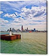 East Pierhead Lighthouse View Of Cleveland Canvas Print