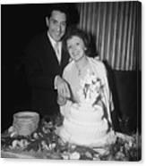 Edith Piaf Cuts Wedding Cake Canvas Print