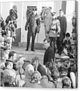 Edward Kennedy Entering Courthouse Amid Canvas Print