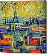Eiffel Tower And Paris Rooftops In Sunlight Textural Impressionist Stylized Cityscape Mona Edulesco Canvas Print