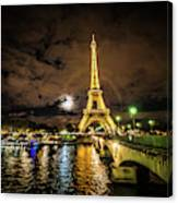 Eiffell Tower At Night After The Storm Passed Canvas Print
