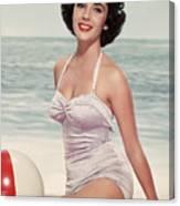 Elizabeth Taylor In A Bathing Suit Canvas Print