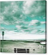 Empty Beach Bench Canvas Print