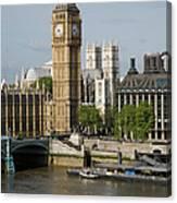 England, London, Big Ben And Thames Canvas Print