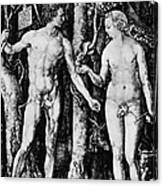 Engraving Of Adam And Eve Canvas Print