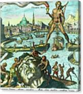 Engraving Of The Colossus Of Rhodes Canvas Print