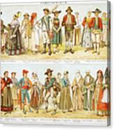 European Costumes Lithograph 1897 Canvas Print