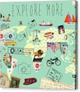Exlore More World Map Canvas Print