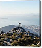 Exuberant Man On Top Of Table Mountain Canvas Print