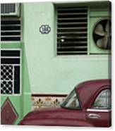 Facade And Oldtimer In Old Havana Canvas Print