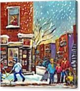 Face Off Street Hockey At The Corner Dep Snow Falling Streets Of Montreal Quebec Artist C Spandau Canvas Print