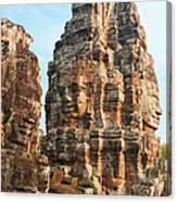 Faces On Bayon Temple Cambodia Canvas Print