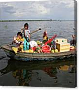 Family & Snake Sell Wares On Tonle Canvas Print