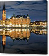 Fantastic Stockholm City Hall And Gamla Stan Reflection With Clouds Canvas Print
