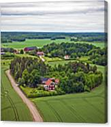 Farms And Fields In Sweden North Europe Canvas Print