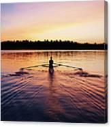Female Rowing Single Scull, Sunrise Canvas Print