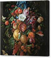 Festoon Of Fruit And Flowers, 1670 Canvas Print