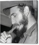 Fidel Castro Lighting A Cigar Canvas Print