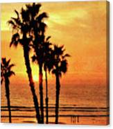 Fiery California Sunset Oceanside Beach Canvas Print