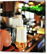 Filling A Beer Glass On The Bar Counter Canvas Print