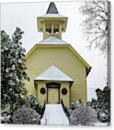 First Presbyterian Church In The Snow Canvas Print