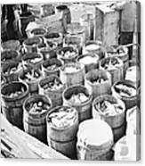 Fish For Sale In Barrels At The Fulton Canvas Print