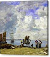Fishermens Wives At The Seaside - Digital Remastered Edition Canvas Print
