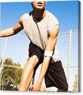Fit Male Playing Basketball Outdoor Canvas Print