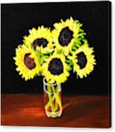 Five Sunflowers Canvas Print