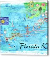 Printable Map Of Florida Keys.Florida Keys Key West Marathon Key Largo Illustrated Travel Poster Favorite Map Tourist Highlights By M Bleichner