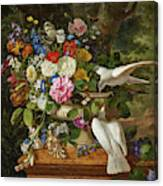 Flowers In A Vase With Two Doves Canvas Print