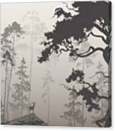 Foggy Landscape With Silhouette Of Canvas Print