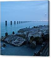 Foggy View Of Chicago From Lakeshore Canvas Print