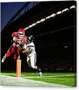 Football Player Diving Into End Zone Canvas Print
