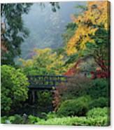 Footbridge In Japanese Garden Canvas Print