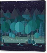 Forest Landscape In A Flat Style In The Canvas Print