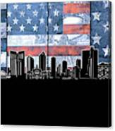 Fort Worth Skyline Flag 3 Canvas Print