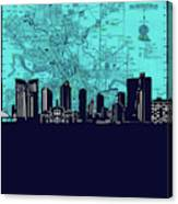 Fort Worth Skyline Map Blue 2 Canvas Print