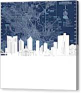 Fort Worth Skyline Map Blue Canvas Print