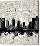 Fort Worth Skyline Music Sheet Canvas Print