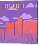 Fort Worth Skyline Panorama Purple Canvas Print