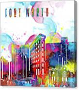 Fort Worth Skyline Panorama Watercolor 2 Canvas Print