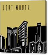 Fort Worth Skyline Panorama Yellow Canvas Print