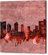 Fort Worth Skyline Vintage Red Canvas Print