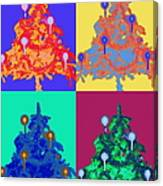 Four Christmas Trees Decorated With Canvas Print