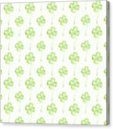 Four Leaf Clover Lucky Charm Pattern Canvas Print